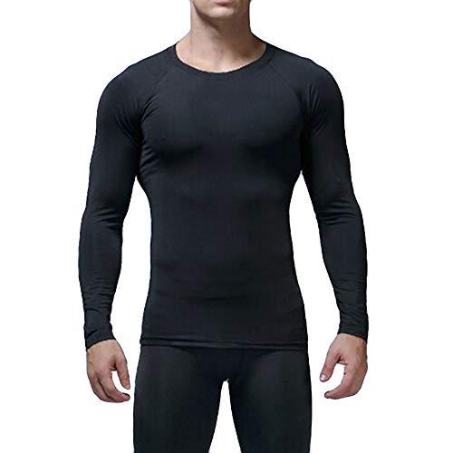 Yazidan Herren Fitness langärmelige Rundhalsausschnitt Sweatshirt Bodybuilding Haut Enge trocknende Tops Schnell trocknende, Fitnesskleidung mit schweißabsorbierender atmungsaktiver Sportstrumpfhose