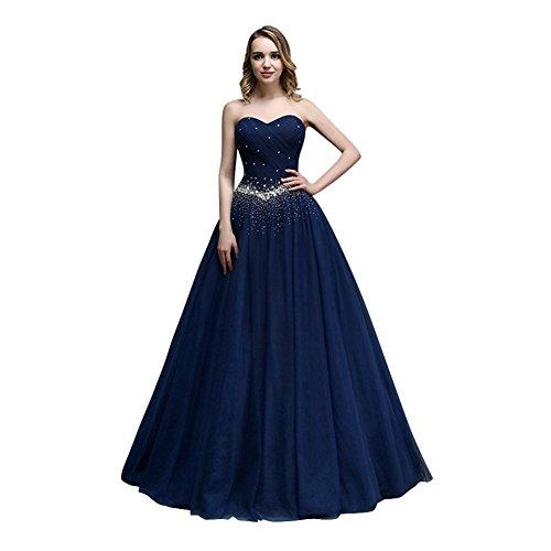 KAIDUN Damen Lange Tuell Abendkleid Ballkleid Party Kleider Navy Blue 40