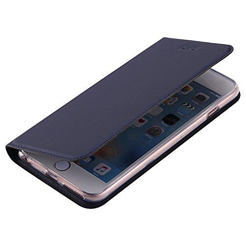 KANTAS Coque PU Cuir pour iPhone 6S iPhone 6 Étui à Rabat Ultra Mince Housse de Etui en Cuir Flip Case pour iPhone 6S/6 Noir Housse Folio avec Fonction Stand Porte-cartes Magnétique PU Leather Couvert Bleu