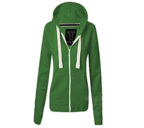 Womens Hoodie Hood Plain Jumper Ladies Green Fleece Casual Zip Top Upper Sweater Sweatshirt Jacket Coat Size M