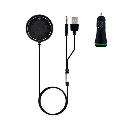 Gearmax® Bluetooth 4.0 Hands-Free Kit Auto per Auto con Jack Input Aux da 3,5 mm, Kit viva voce Bluetooth per auto con ingresso connettore Aux (3,5 mm) - supporta aptX