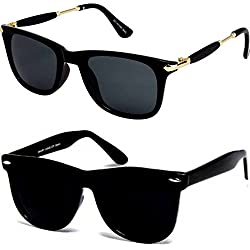 Y&S branded Sunglasses for boys stylish combo sunglasses for mens womens girls at low price uv protected non polarized sun glasses goggle set (CM-Blk-Gldn-Stk+BlkBlkWayf|55|wayfarer)