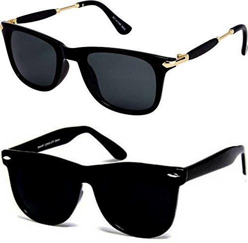 Sunglasses for boys stylish combo for mens womens girls at low price uv protected non polarized sun glasses goggle set (CM-Blk-Gldn-Stk+BlkBlkWayf|55|wayfarer)