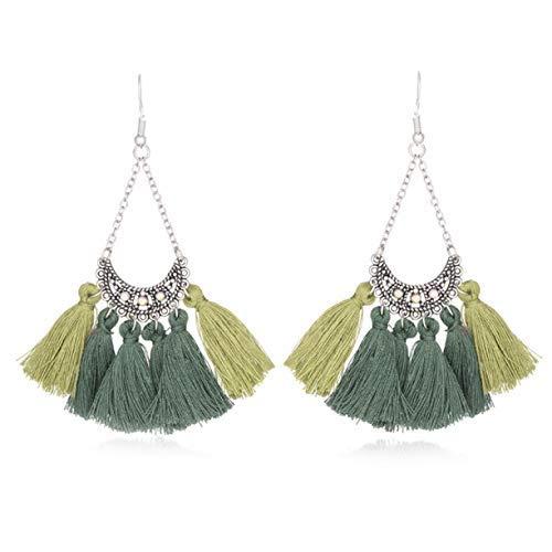 Ruiyiheng beliebte Damen-Ohrringe lange Quaste Fransen Ohrringe Schmuck für Geburtstag, Valentinstag, Jahrestag - E020271 (Jersey Fransen)