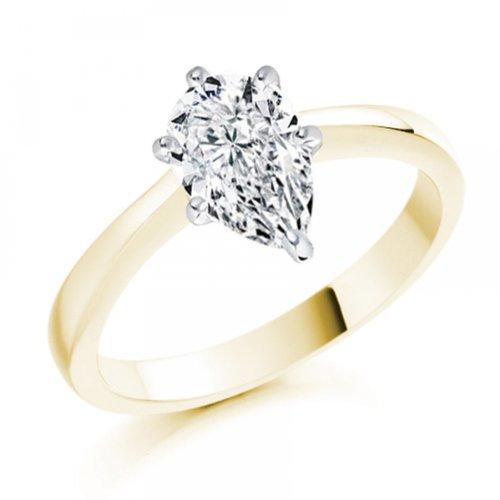 Diamond Manufacturers, Damen, Verlobungsring mit 0.25 Karat F/VVS1 feinem und zertifiziertem Tropfendiamant in 18k Gelbgold, Gr. 41 - 3