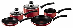 Tefal Bistro Aluminium Cookware Set, 5 Pieces - Red