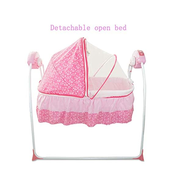 Mr.LQ Baby Cradle Baby Shaker Baby Sleepy Baby Artifact Multi-Function Intelligent Electric Crib,Pink,94x79x42cm  Five advantages of electric cradle 01 easy to sleep, baby is easy to fall asleep, liberating mother's hands 02 puzzle is good for baby brain development 6