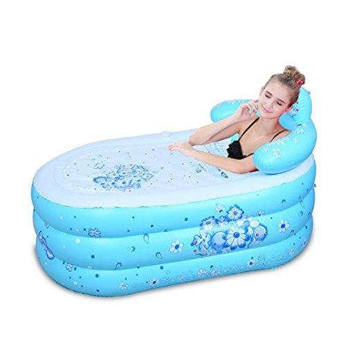 JIJIHAO Chongqiyugang Bequeme Aufblasbare Plastikbadewanne Mit Rückenlehnen-Isolierungs-Ausgangsbad-Fass-stabilem Und Dauerhaftem Gesundheits- Und Umweltschutz (Color : Blue, Size : 160 * 90cm)