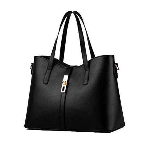 Fashion Damen PU Leder Handtasche Lady 's Line Tote Taschen schwarz