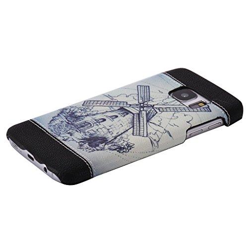 """Forepin® Dual-Layer PC + Leder Rückdeckel Schutzhülle Case für Apple iPhone 6 / 6S 4.7"""", Kreatives Design mit Innen Kunststoff Bumper und Äußere Schutz Ledertasche Anti-Kratz Anti-Rutsch Oberfläche La Windmühle"""
