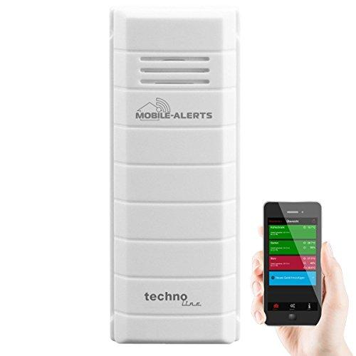 Mobile Alerts Zusatzsensor MA 10100 - Temperatursensor mit Datenübertragung auf das Smartphone, Thermometer, mit Alexa kompatibel, Temperaturüberwachung, weiß, 3,2 x 1,7 x 8,7 cm