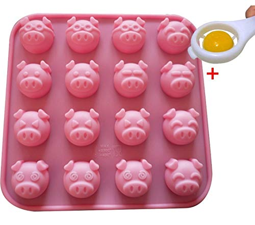 Moolecole 16-Cavity Different Pig Expression Silicone Cake Soap Decoration Mold