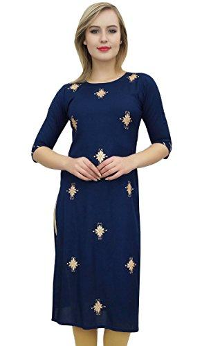 Bimba Damen Designer Blaue Tunika Gestickte Kurta Kurti Ethnische Kleidung- 40 -