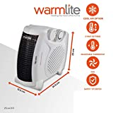 Warmlite Portable Fan Heater, Upright or Flatbed, Adjustable Thermostat, Overheat Protection with Cooling Option, BEAB and GS Safety Approved, 1-2 kW, White