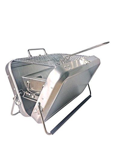 Chapuis bapig Holzkohlegrill tragbar mit Tragegriff Edelstahl Maße 22x 31, 5x 7, 5cm-grau
