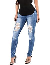 Pantalons Troue Femmes Skinny Taille Haute Stretch Slim Crayon Pantalons a  Trou Déchiré Stretch Jeans 0dd464f5b3ec