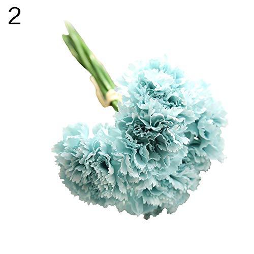 Gzzebo 1 bouquet 6 rami garofani artificiali fiori festa della mamma regalo casa giardino ufficio nozze decorazioni per feste photo puntelli azzurro