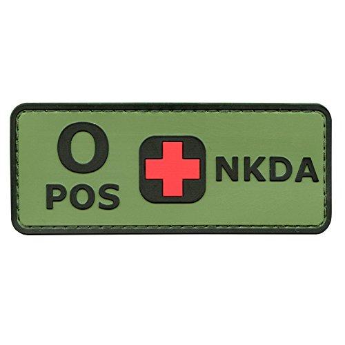 Blutgruppen NKDA Olive Drab OD PVC Gummi 3D Velcro Aufnäher Patch Combat Taktisch Tactical No Drugs Allergies