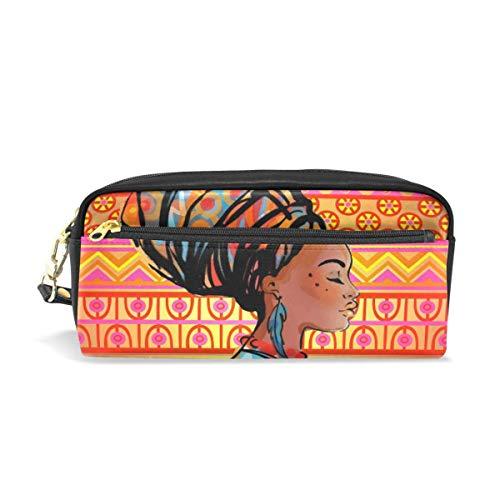 Kinder Afrika Mädchen Federmäppchen Red Retro Maya Kosmetik Make-up Tasche Mäppchen Halter für Schulmädchen -