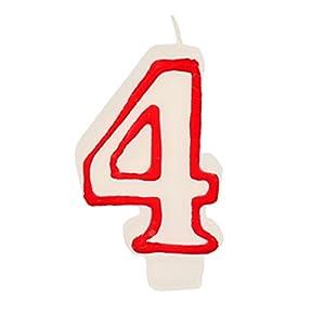 Partygram - Vela de Cumpleaños Número 4 - Blanca con Filo Rojo