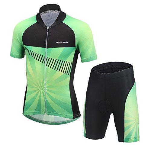 LSHEL Kinder Radsport Anzüge (Fahrrad Trikot Kurzarm + Radhose), Grün + Schwarz, 152/158(Herstellergröße: XXXL)