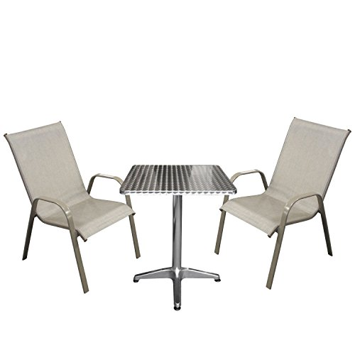 3tlg. Bistrogarnitur Bistro-Set Balkonmöbel Aluminium Bistrotisch 60x60x70cm Gartenstuhl Stapelstuhl 2fach pulverbeschichtet Textilenbespannung Gartensessel stapelbar