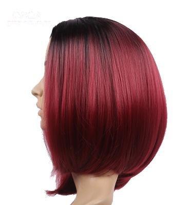 Weibliche Perücke, kurze Haare, Pony, glattes Haar, Mädchen, flauschig, natürlich und lebensecht, Bobo hübscher Kopf, dunklen roten Farbverlauf (Roten Kopf Perücken)