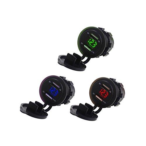 Deylaying Dual USB Hafen Auto Steckdose Ladegerät LED Anzeigen Voltmeter für Telefon/GPS/PSP/IPAD
