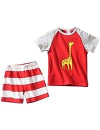 PAOLIAN Conjuntos de Ropa para bebé niños Verano Camisetas Impresion de  Dinosaurs + Pantalones Cortos Impresion 30d634a5d16