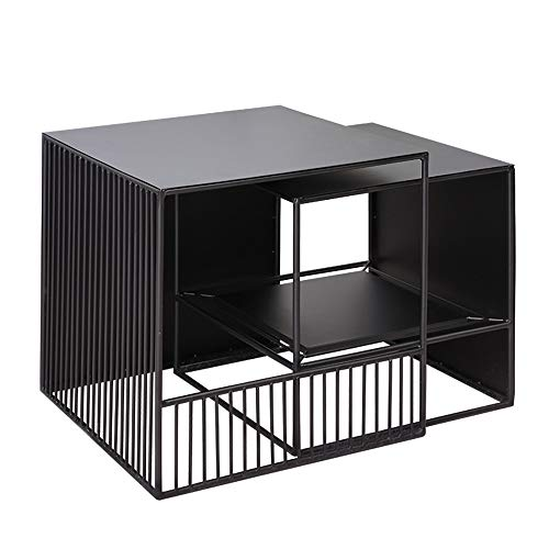YNN Tisch Satz von 2 Couchtisch quadratischen Eisen Beistelltische Wohnzimmer Nesting Beistelltische Pflanze Stehen schwarz -