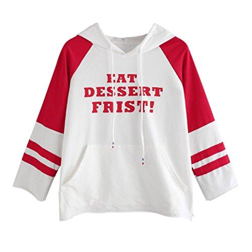 kimloog Hot Sale. Frauen Raglan Sleeve Buchstaben Print color-block Bauchfreies Sweatshirt Pullover mit Kapuzen Kordelzug Kangroo Pocket 2XL rot -