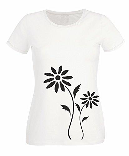 BLUMEN Damen T-Shirt - Florals - Weiß