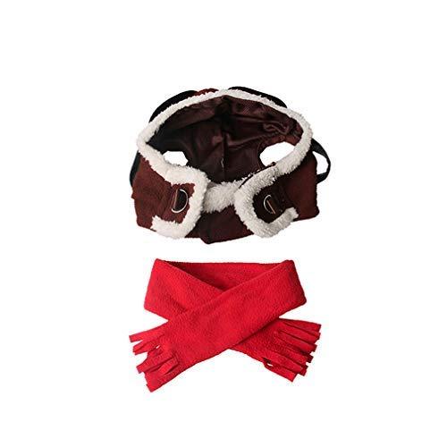Kostüm Süß Pilot - Kapuzenpullover Jumpsuit T-Shirt Kingus Pet Pilot Hut Einstellbare Cosplay Katze Hund Kostüm Winter Weiche Haustier Hut Heimtierbedarf Warme Large Muster