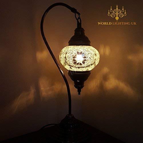 Turkish Lampe / Marokkanische Lampe Tiffany Stil Glas Schreibtisch Tisch Lampe - W1_ Swan -