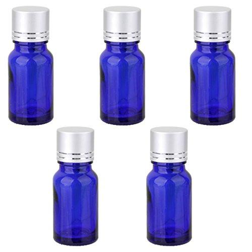 Lot de 5 Bouteille d'Huile Essentielle Vide Flacon en Verre Bleu Orifice Réducteur & Bouchon à Vis d'Argent