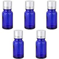 5× Blu Bottiglie di Olio Essenziale Profumo Flacone Orifizio Riduttore 10ml con Tappi