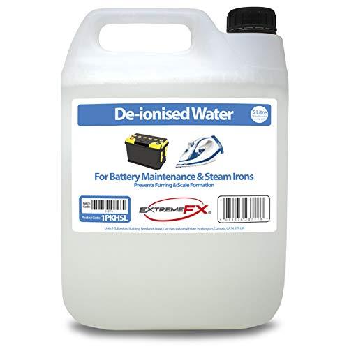Acqua deionizzata 5 litri - acqua di riempimento - adatta per la manutenzione della batteria, ferri a vapore, radiatori auto, fontane ecc.