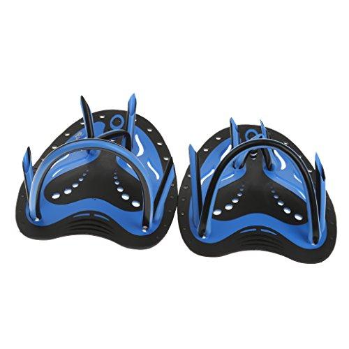 perfk Handpaddel für Schwimmen, Unisex Schwimm Trainingshilfe Hand Paddle, Schwimmtraining Paddel, Blau/Gelb Wählbar - Blau