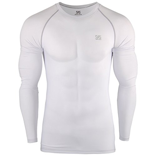 Zipravs Herren Kompressionshirt Base Layer Rash Guard Langarm