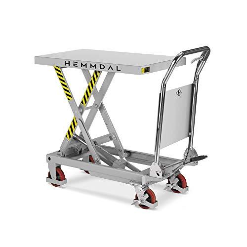 Scherenhubtischwagen HEMMDAL klappbar | Hubtisch fahrbar | Tragkraft 300 kg | Geräuscharme Räder | Hubtischwagen 850 x 500 mm | Hubhöhe 880 mm
