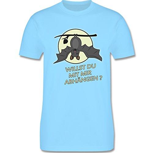 Sprüche - Fledermaus - willst du mit mir abhängen ? - Herren Premium T-Shirt Hellblau
