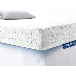 ViscoSoft Surmatelas 140 x 190 ViscoGel sur Matelas Mousse memoire de Forme   Hauteur 5cm Effet Relaxant   Housse Bambou Lavable & Amovible   Confort Medium pour Matelas, sommiers 140x190