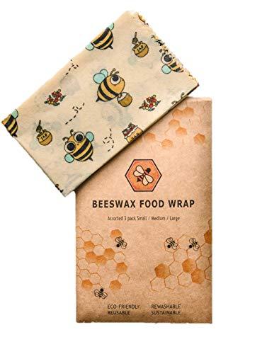 Blatt Wachs-siegel (EcoBees Bienenwachs Umweltfreundliche Wieder verwendbare Lebensmittelverpackungen - Vielfalt Pack 3 Größen - Bienenwachs ist eine natürliche kunststofffreie, nachhaltige Alternative zum Verpacken)
