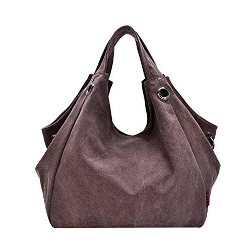 LOSORN ZPY Damen Vintage Schultertasche Canvas Totes Bag mit einfachem Stil Reine Farbe Kaffee 2