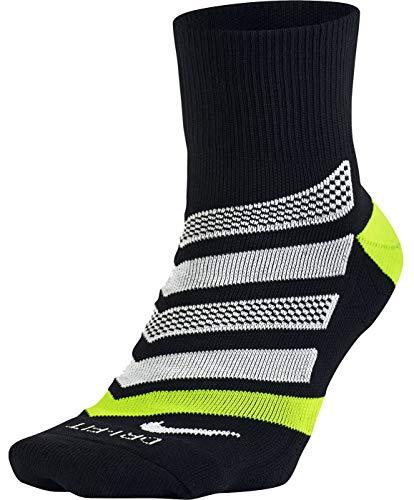 Dri-fit Quarter Socken (Nike Herren Dri-Fit Cushion Dynamic Arch Quarter Socken, schwarz (Black/Volt/White), L)
