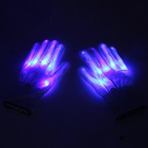 Gaeruite 1 Paar LED Handschuhe, Finger Lichter LED Luminous Handschuhe, Licht Handschuhe Leuchtende Handschuhe Party Licht Show Handschuhe, Lightshow Tanzen Beleuchtung Handschuhe für Clubbing, Rave, Geburtstag (blue)
