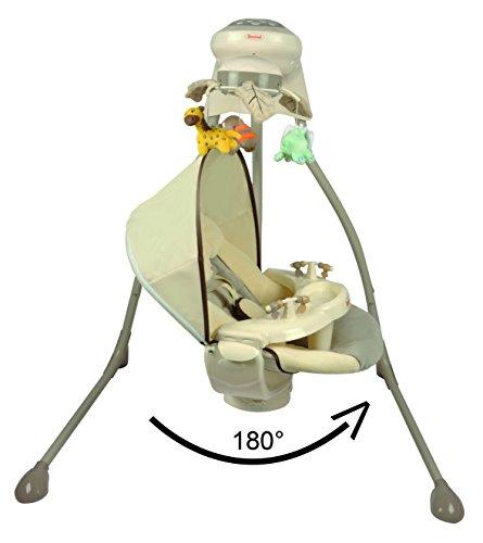 Elektrische Babyschaukel Modell Dodoli mit Musikfunktion Lichteffekte Mobile verstellbarer Sitz Timer Beige Mint - 2