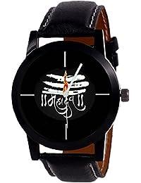 "Krupa Enterprise New Designer ""MAHADEV"" Print Dial Black Leather Belt For Boys Watch"
