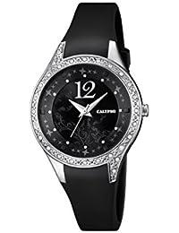 Calypso–Reloj de mujer de cuarzo con Negro esfera analógica pantalla y correa de plástico en color negro K5660/4