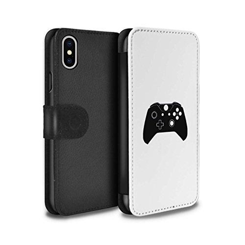 Stuff4 Coque/Etui/Housse Cuir PU Case/Cover pour Apple iPhone X/10 / SNES Blanc Design / Manette Jeux Vidéo Collection Xbox One Noir